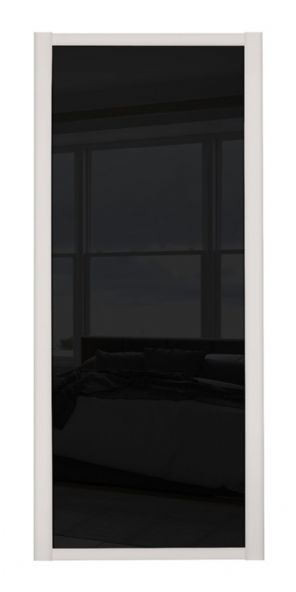 Shaker Sliding Wardrobe Door- CASHMERE FRAME- BLACK GLASS SINGLE PANEL